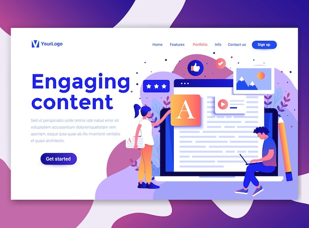 Landing page template of engaging content