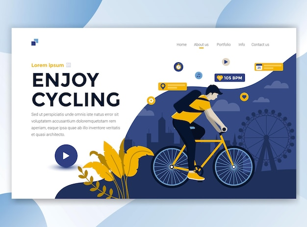 Landing page template of enjoy cycling