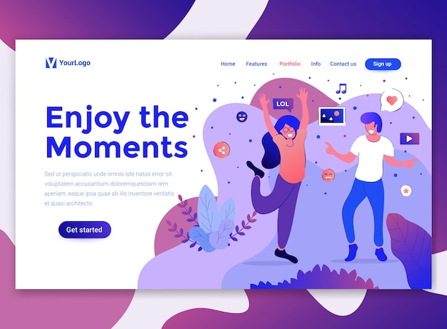 Landing page template of enjoy the moments