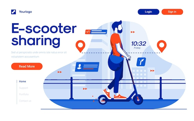Landing page template of escooter sharing in flat design style