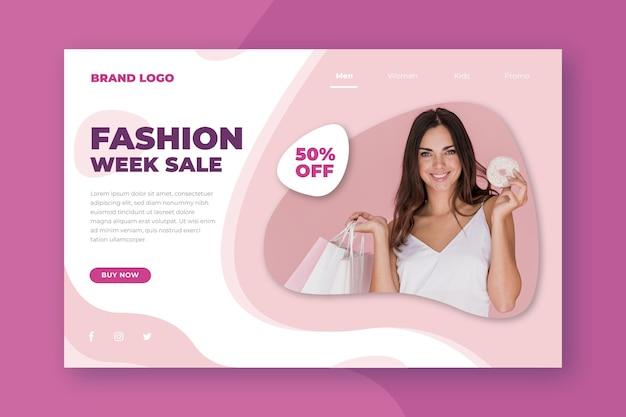 Modello di pagina di destinazione per la vendita di moda
