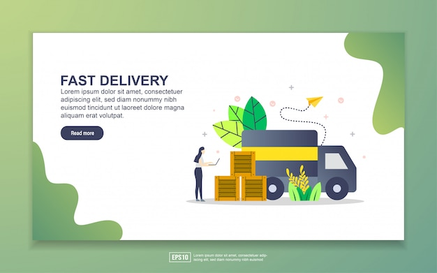 Landing page template of fast delivery
