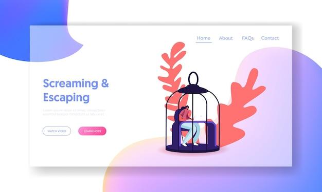ランディングページテンプレート。ラップトップに取り組んでいる鳥のケージに座っている女性キャラクター。