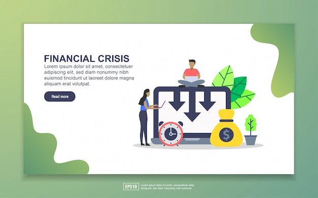 Landing page template of financial crisis