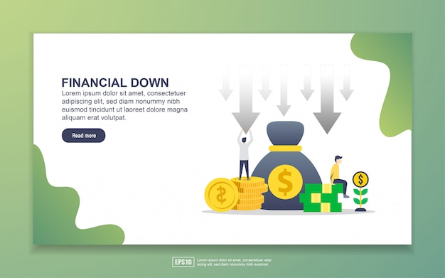 Landing page template of financial down