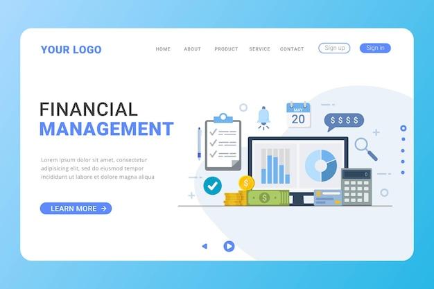 Landing page template financial management design concept