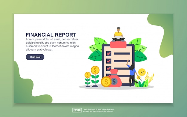 Landing page template of financial report