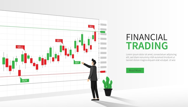 Landing page template of financial trading. man analyzing indicator of forex trading symbol.