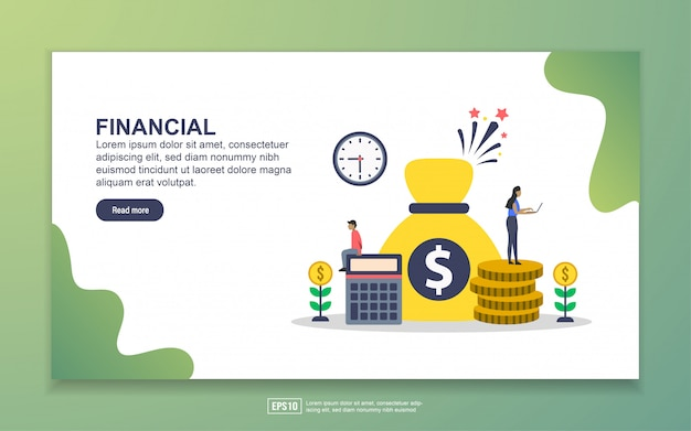 Landing page template of financial