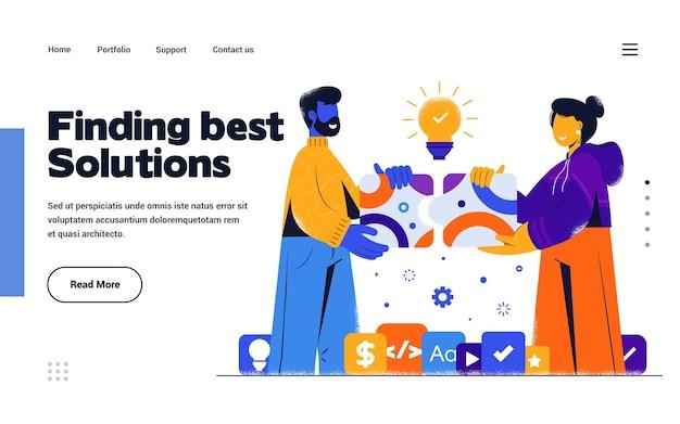 Шаблон целевой страницы найдите лучшее решение в стиле плоский дизайн