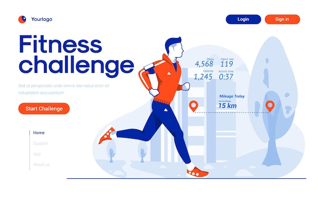 Landing page template of fitness challenge app in flat design style