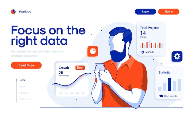 Landing page template of focus on the right data in flat design style