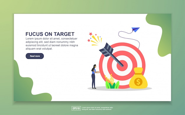Landing page template of focus on target. modern flat design concept of web page design for website and mobile website