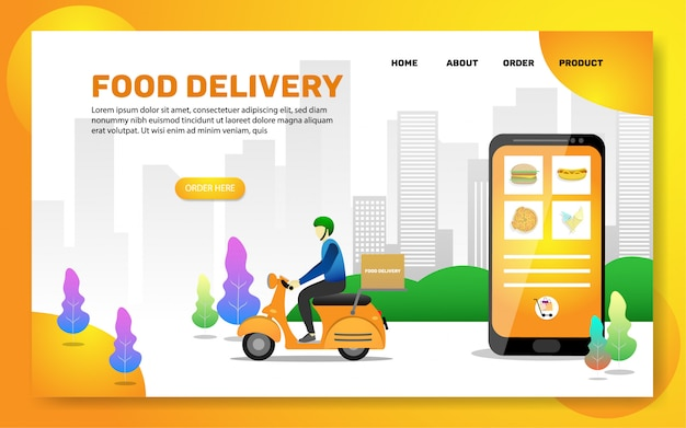Landing page template. food delivery web page