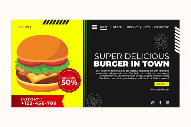 ハンバーガーレストランのランディングページテンプレート