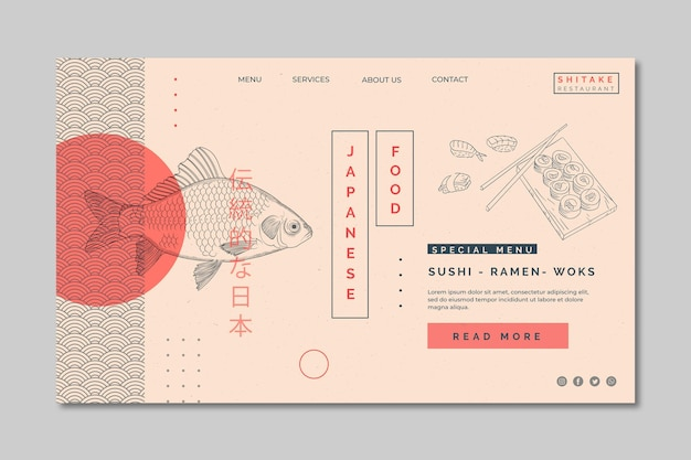 Шаблон целевой страницы для ресторана японской кухни