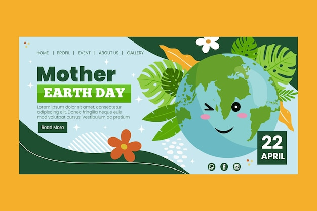 母なる地球デーのお祝いのランディングページテンプレート
