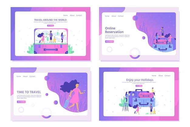 평평한 사람 캐릭터와 가방이 있는 온라인 쇼핑을 위한 방문 페이지 템플릿입니다. 웹 사이트 배너, 모바일 앱 템플릿, 전자 상거래 판매, 디지털 마케팅에 대한 개념. 벡터 일러스트 레이 션