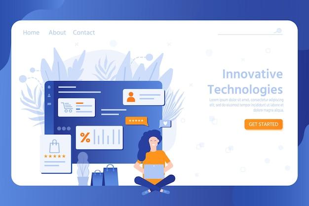 オンラインテクノロジーのランディングページテンプレート、フラットなキャラクターでのショッピング。ワイヤレスネットワークシステム、ウェブサイトバナー、モバイルアプリテンプレート、販売、デジタルマーケティングのコンセプト。ベクトルイラスト