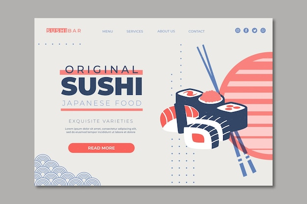 寿司レストランのランディングページテンプレート