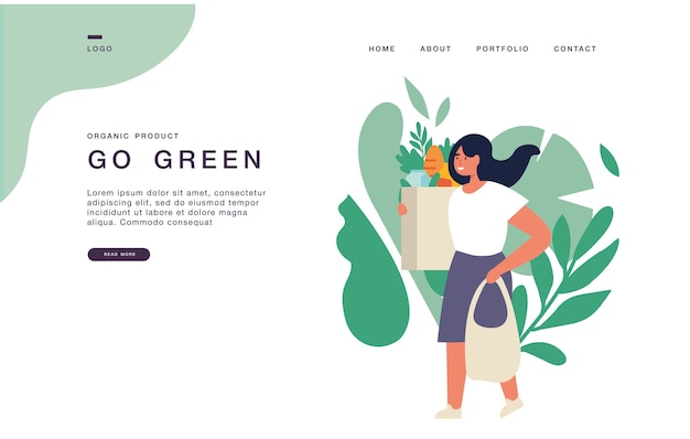 購入時にエコバッグを運ぶ若い女性がいるウェブサイトのランディングページテンプレート。エコ食料品ショッピングコンセプトバナーイラスト。