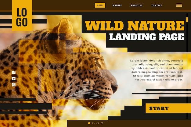チーターと野生の自然のランディングページテンプレート
