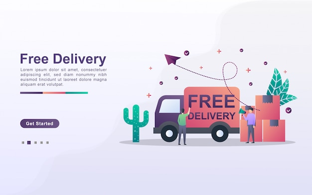 Landing page template of free delivery in gradient effect style