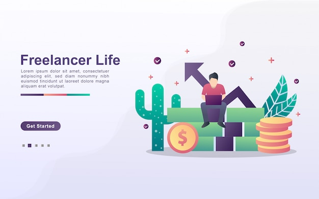 Landing page template of freelancer in gradient effect style