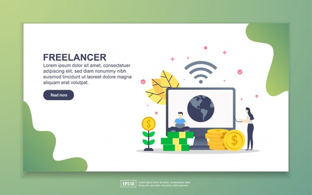 Landing page template of freelancer