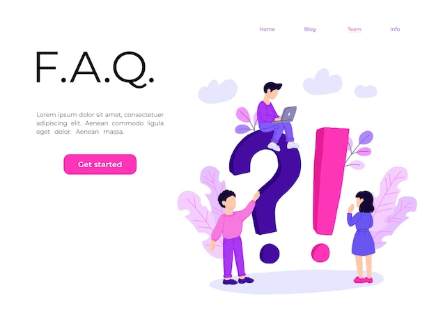 Landing page template of frequently asked question concept.