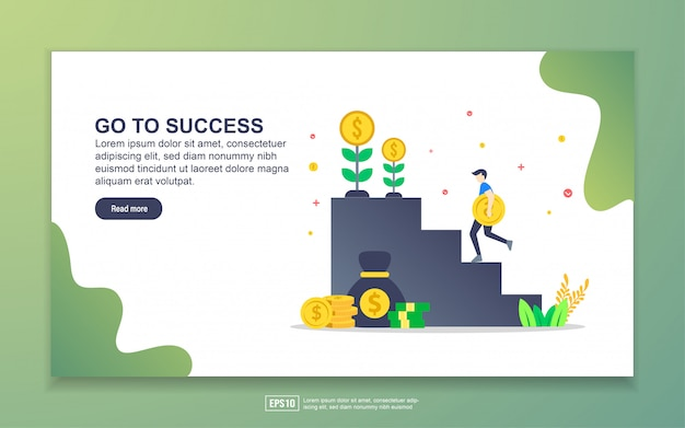 Landing page template of go to success