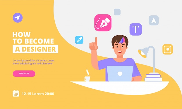 Landing page template of graphic designer concept