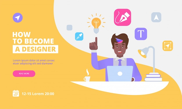 Landing page template of graphic designer