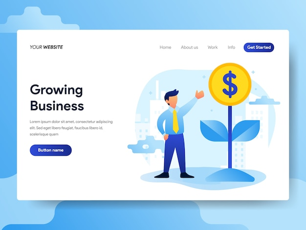Landing page template of growing business concept
