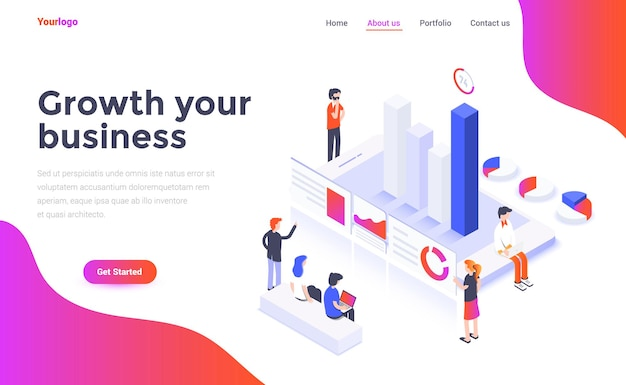 Landing page template of growth your business in isometry style