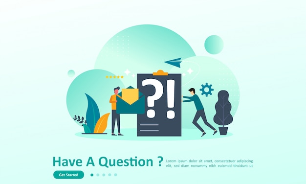 Landing page template of have a questions with character