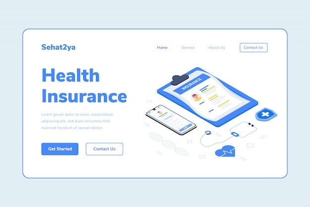 Landing page template health insurance document smarthphone stethoscope isometric illustration
