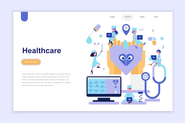 Landing page template of healthcare