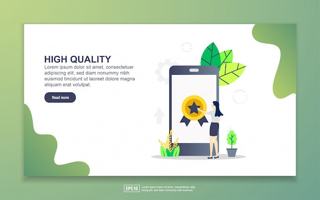 Landing page template of high quality. modern flat design concept of web page design for website and mobile website.