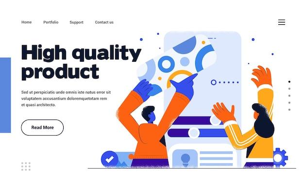 Шаблон целевой страницы высококачественный продукт в стиле плоского дизайна