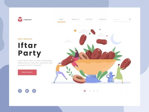 ランディングページテンプレート、ホーリーモンラマダンムバラク、フラットタイニーの人は甘いフルーツのデートを共有します。アラビアコーヒーマグカップで象徴的な断食絶食パーティー。フラットスタイル。