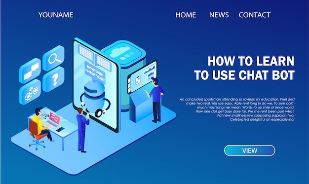 Landing page template. how to learn using chat bot infographics. hi-tech