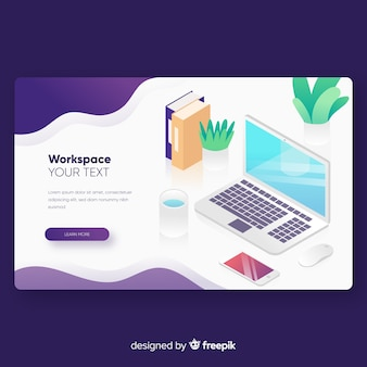 Landing page template in isometric style