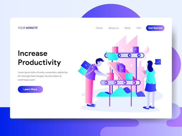 Landing page template of increase productivity concept