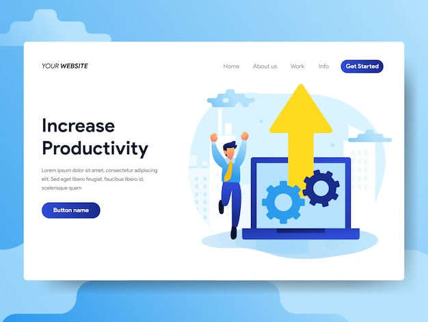 Landing page template of increase productivity