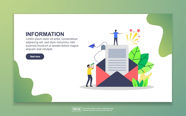 Landing page template of information