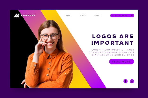 Landing page template for innovative companies