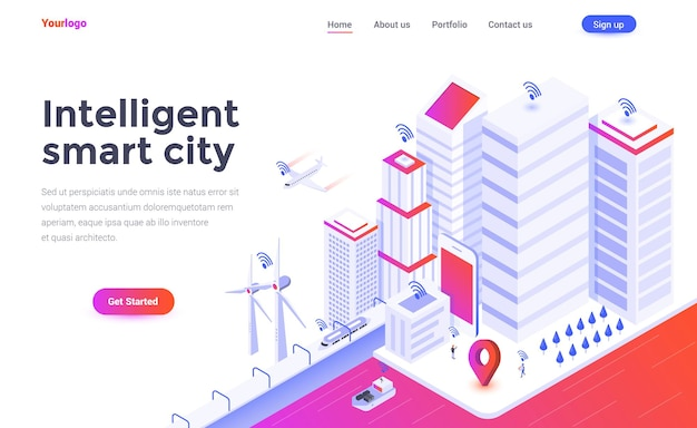 Landing page template of intelligent smart city in isometry style
