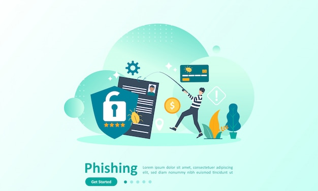 Landing page template of internet security with character