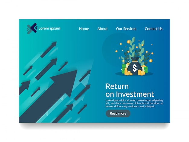 Landing page template for investment business concept